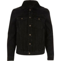 River IslandBlack washed borg collar denim jacket