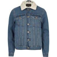 River IslandBlue wash borg lined denim jacket