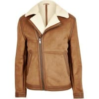 River IslandLight brown borg lined biker jacket