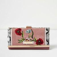 River IslandRoze portemonnee met bloemenborduursel en druksluiting