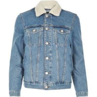 River IslandStonewash borg collar denim jacket