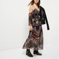 River IslandRI Petite - zwarte schouderloze midi-jurk met print