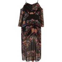 River IslandRI Plus - zwarte schouderloze midi-jurk met print