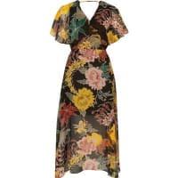 River IslandZwarte chiffon midi-jurk met cape en bloemenprint