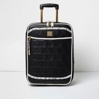 River IslandBlack quilted snake print suitcase