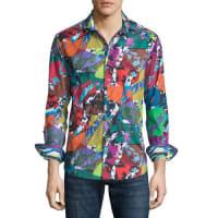 Robert GrahamCholla Cactus Printed Long-Sleeve Sport Shirt, Multicolored
