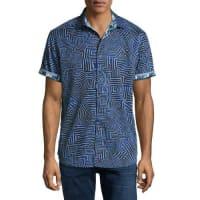 Robert GrahamColonel Geo-Pattern Short-Sleeve Sport Shirt, Blue