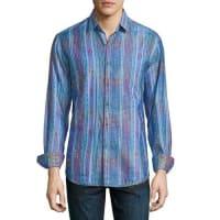 Robert GrahamCultivated-Print Long-Sleeve Sport Shirt, Blue