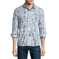 Robert GrahamDiamond-Pattern Long-Sleeve Sport Shirt, White