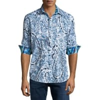 Robert GrahamGalilei Paisley Sport Shirt, White/Blue