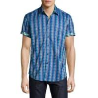 Robert GrahamGeometric-Print Short-Sleeve Sport Shirt, Blue