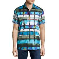 Robert GrahamGravity Abstract-Print Short-Sleeve Sport Shirt, Blue