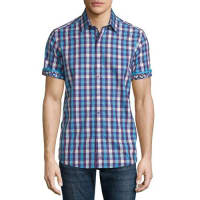Robert GrahamGriswold Check Short-Sleeve Shirt, Purple Pattern