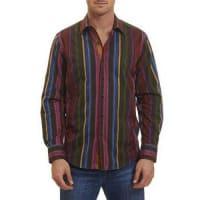 Robert GrahamLateran Mixed-Weave Multi-Stripe Sport Shirt, Multicolor Pattern