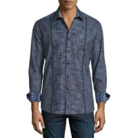 Robert GrahamLimited Edition Geo-Print Long-Sleeve Sport Shirt, Charcoal