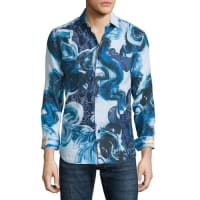 Robert GrahamLimited Edition Printed Linen Sport Shirt, Blue