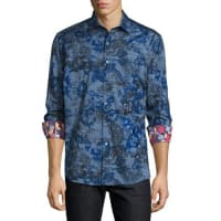 Robert GrahamLimited Edition Printed Sport Shirt W/Embroidery, Blue