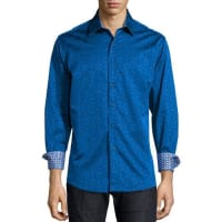 Robert GrahamCullen Jacquard Long-Sleeve Shirt, Navy