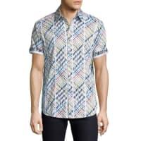 Robert GrahamMulticolor Geo-Pattern Short-Sleeve Sport Shirt, White