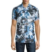 Robert GrahamPrinted Short-Sleeve Linen Shirt, Blue