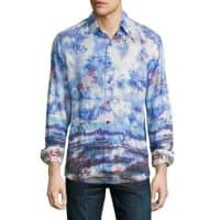 Robert GrahamThe Tribe Allover Printed Sport Shirt, Sapphire