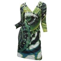 Roberto CavalliGreen Abstract 3/4 Sleeve Dress W/ Pin