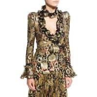 Roberto CavalliMetallic-Embroidered Long-Sleeve Blouse, Gold
