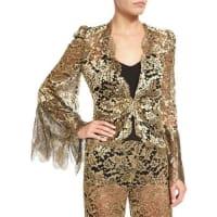 Roberto CavalliMetallic Lace V-Neck Jacket, Gold