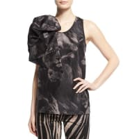 Roberto CavalliScoop-Neck Lion-Print Tank W/Bow, Black Pattern