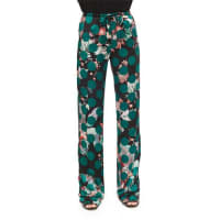 Roberto CavalliPrinted Silk Pajama Pants, Green Multi