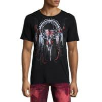 Robin's JeansEmbellished Longhorn Skull T-Shirt, Black