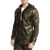 Robin's JeansGold-Coated Zip-Up Hoodie, Gold