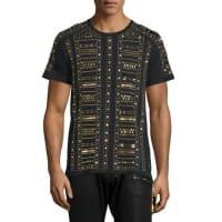 Robin's JeansGold-Metal Studded Short-Sleeve T-Shirt, Black