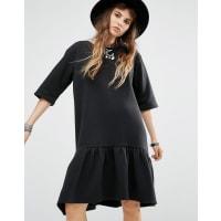 RokokoPeplum Hem T-Shirt Dress - Black
