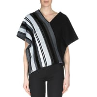 Roland MouretLatrilla Wide-Stripe Off-The-Shoulder Top, Black/White