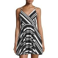 Romeo & Juliet CoutureStriped Strappy Sleeveless Dress, Black/White
