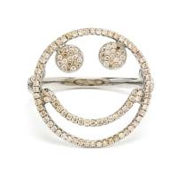 Rosa De La CruzAnel Smile de ouro branco 18k com diamantes