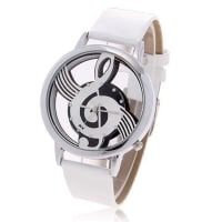 SammydressChic Bolun B636 Treble Clef Theme Dial Leather Wristband Wrist Watch with Dots Hour Marks - White