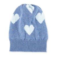Rosie SugdenCashmere Heart Beanie Hat, Blue/Light Blue