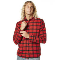 RvcaTorched Ls Mens Shirt Red