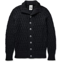 S.N.S. HerningStark Basketweave Virgin And Merino Wool-blend Cardigan - midnight blue