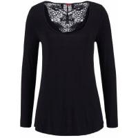 s.Oliver Red LabelBeachwear Strandshirt mit Spitzeneinsatz schwarz