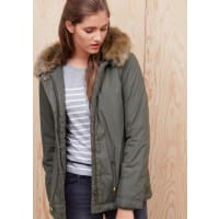 s.Oliver Red LabelWarme Jacke mit Fake Fur-Kapuze, braun, forest green