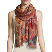 Sabira CollectionChaman Floral Wool Stole, Red