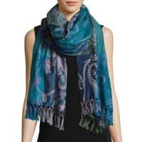 Sabira CollectionHoggar Paisley & Check Wool Shawl, Light Blue