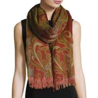 Sabira CollectionMidnight Garden Wool Shawl, Orange/Green