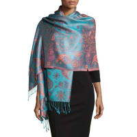 Sabira CollectionPaisley Jacquard Weave Shawl, Pink Floral
