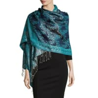 Sabira CollectionPaisley Jacquard Weave Silk Shawl, Blue Floral