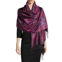 Sabira CollectionPaisley Jacquard Weave Silk Shawl, Purple Floral