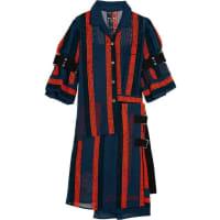 sacaiMacramé Lace-paneled Cotton-blend Chiffon Dress - Navy